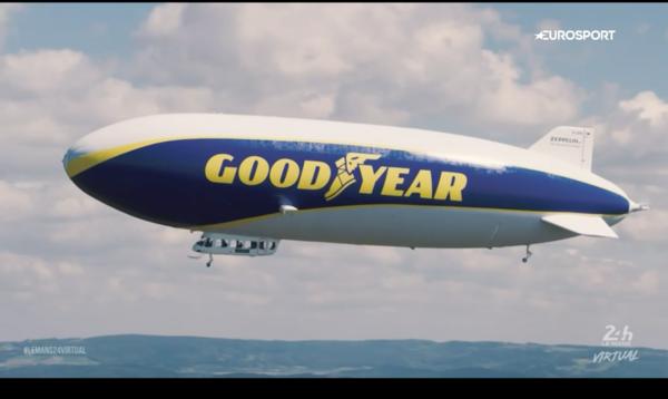 De Goodyear zeppelin maakte deel uit van de virtuele race van Le Mans