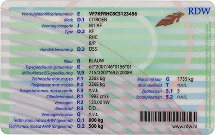 Voorbeeld van een kentekenbewijs achterkant