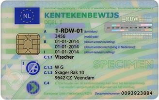 Voorbeeld van een kentekenbewijs voorkant