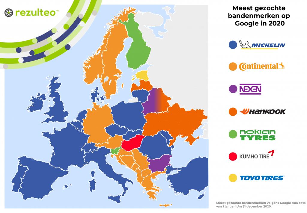 Kaart met de meestgezochte bandenmerken op Google in Europa